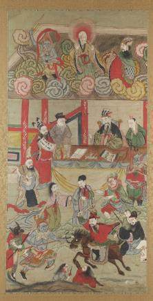A Korean painting depicting various figures