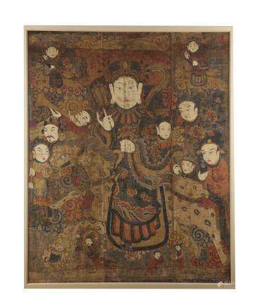 A large Korean painting with Buddhist figures