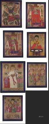 A group of seven Korean paintings depicting various figures