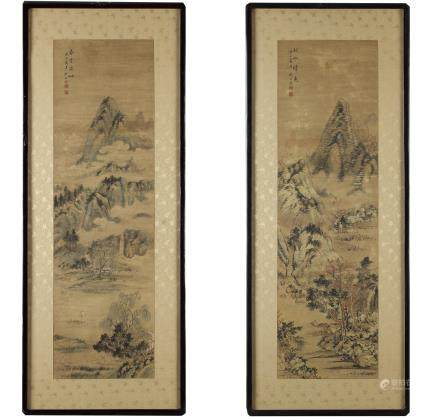 A pair of Korean paintings depicting a landscape