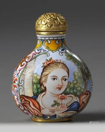 A Chinese painted enamel 'European subject' snuff bottle