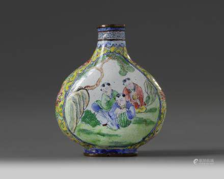 A Chinese painted enamel 'boys' snuff bottle