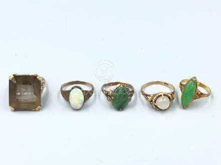 C20th Jewellery- including Opal & Jadeite rings, some stamped (5) Provenance of lots 1 to 26: