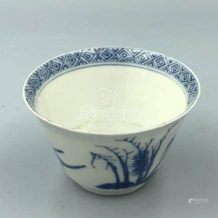 C17th Chinese blue & white cup bearing Chenghua 4 character mark, 6.5 cm diam, small frit rim chips