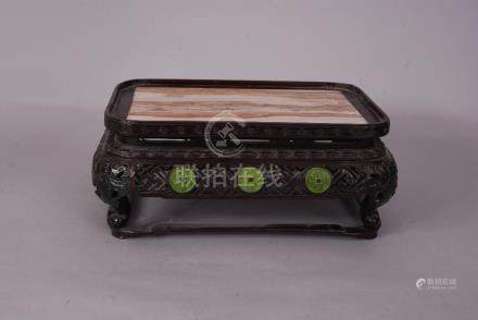C18th/19th Chinese marble-inset Zitan rectangular stand, 13cm high, 31cm wide, 22cm deep