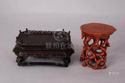 Chinese Zitan rectangular stand, 16cm wide, 8.5cm h; together with a boxwood root-form stand (2)