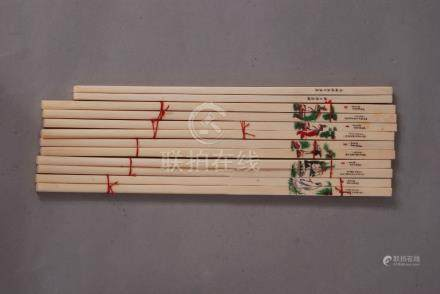 Six pairs of Chinese ivory chopsticks decorated with phoenix and landscapes. (6)