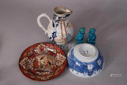 Chinese famille rose jug painted with figures; together with a blue and white 'landscape' bowl, a