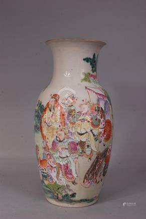 C18h/19th Chinese famille rose baluster vase painted with continuous scene of numerous figures, 37.