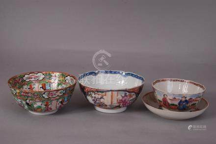 C19th Chinese famille rose bowl painted with panels of figural scene, 14.2cm diam; together with a