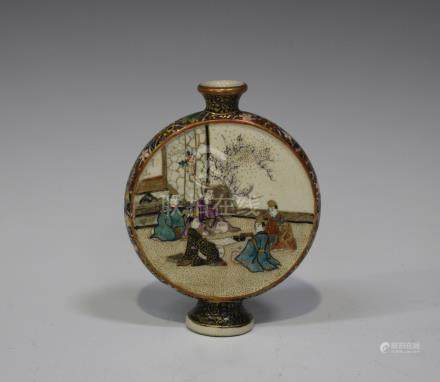 A Japanese Satsuma earthenware moon flask by Kozan, Meiji period, one side painted and gilt with