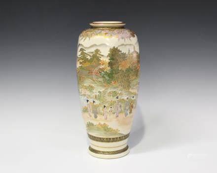 A Japanese Satsuma earthenware vase by Hakuzan, early 20th century, of hexagonal tapering form,