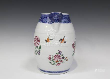 A Chinese famille rose export porcelain cider jug, late Qianlong period, of barrel form, painted