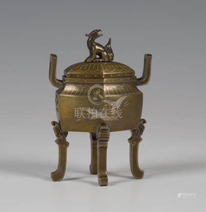 A Japanese mixed metal inlaid bronze small koro and cover by Nogawa, Meiji period, the hexagonal