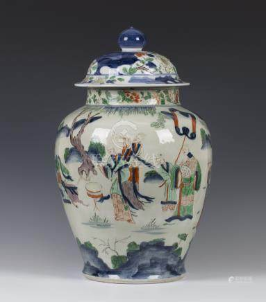 A large Chinese wucai porcelain jar and cover, Transitional period, mid-17th century, the stout