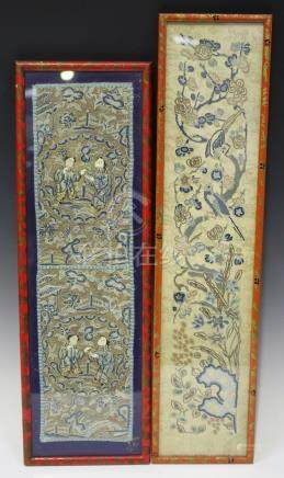 Two Chinese silk embroidered sleeve panels, late 19th/early 20th century, each worked in coloured
