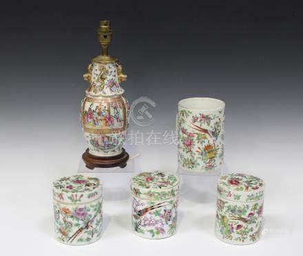 A small group of Chinese Canton famille rose export porcelain, mid to late 19th century,