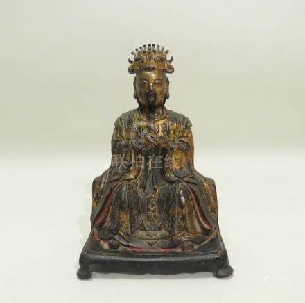 Belle statuette en bronze laqué et doré représentant YUHUANG DADI (Vénérable Cé