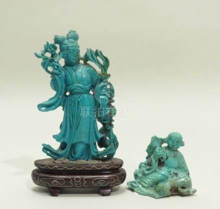 Deux sujets en turquoise, l'un, teinté, représentant une déesse du printemps, a