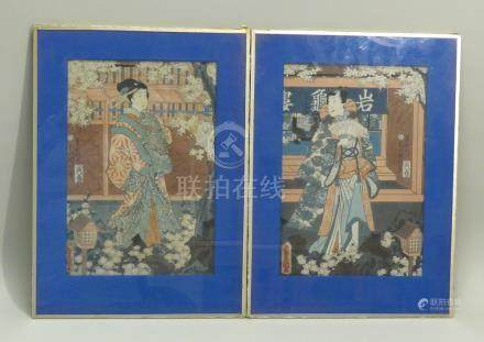 TOYOKUNI III (1786-1865) : deux estampes oban tate-e représentant des acteurs,