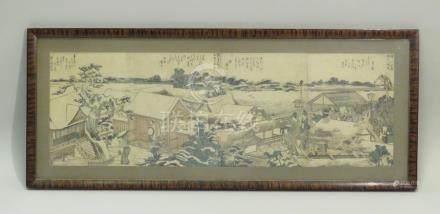 HOKUSAI (1760-1849), Quatre pages formant une scène continue, extraites de l'ou