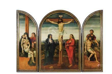 Ecole ESPAGNOLE vers 1560 Panneau central : La Crucifixion Volet gauche : La Dé