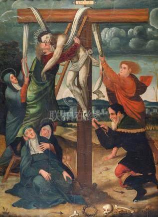 Ecole Espagnole du XVIe siècle, vers 1530 Descente de croix Huile sur panneau 1