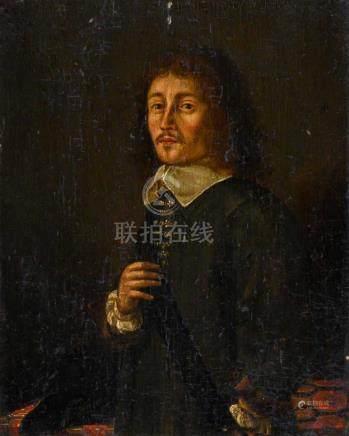 Ecole HOLLANDAISE du XVIIe siècle Portrait d'homme Panneau de chêne, une planch