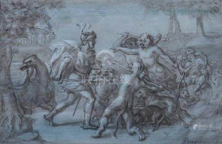 Ecole ITALIENNE du XVIIe siècle Ruggero et les monstres Pierre noire et rehauts