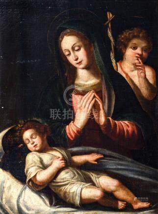 Ecole ITALIENNE du XVIIe siècle Vierge à l'Enfant à l'ange dit Le silence Toile