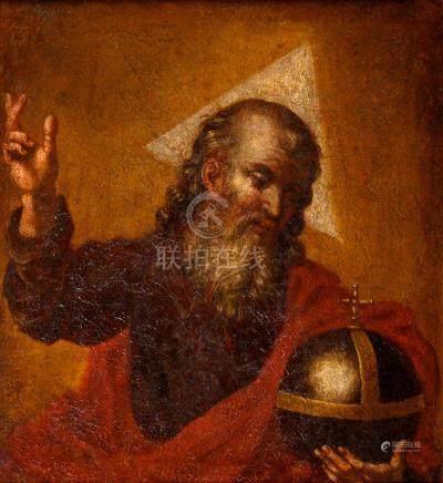 Ecole ROMAINE du XVIIe siècle Dieu le Père tenant le globe Toile 54 x 49 cm