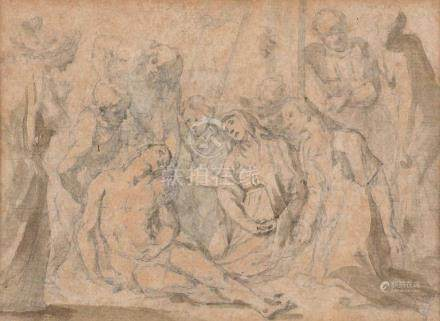 Ecole NAPOLITAINE du XVIIe siècle La descente de croix Lavis d'encre 11,2 x 15,