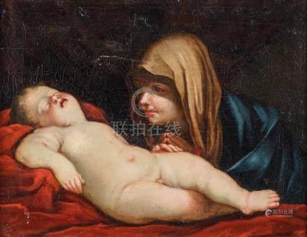 Giovanni Batista SALVI dit SASSOFERRATO (1609-1685) entourage de Vierge à l'Enf