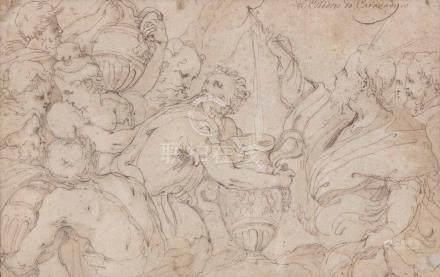 Ecole ITALIENNE du début du XVIIe siècle Sujet antique Plume 15 x 24,5 cm Porte