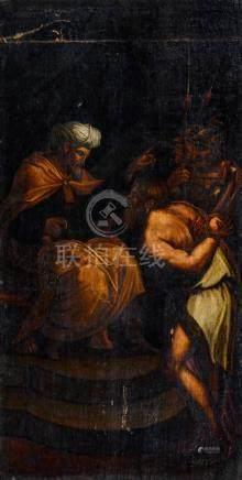 Ecole ESPAGNOLE du milieu du XVIIe siècle L'arrestation de Jésus Toile marouflé