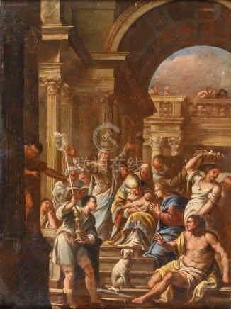 Attribué à Antonio ZANCHI (1631-1722) La présentation de Jésus au temple Huile