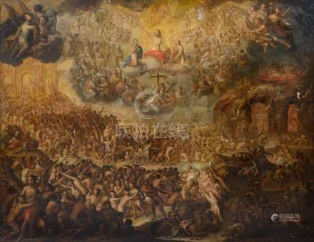 Ecole MADRILÈNE du XVIIe siècle Le Jugement Dernier Toile 164 x 206 cm Accident