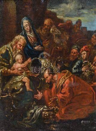Ecole FRANÇAISE du XVIIe siècle, suiveur de Jean SENELLE (1603-1671) L'adoratio