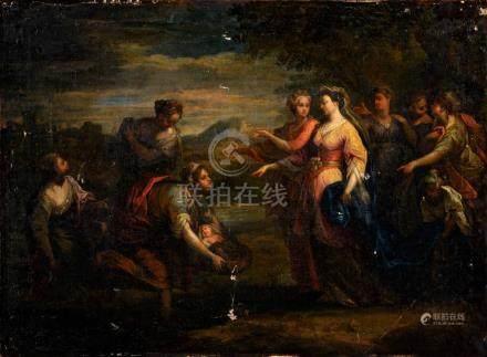 Attribué à Louis GALLOCHE (1670-1761) Moïse sauvé des eaux Toile 51 x 70 cm San
