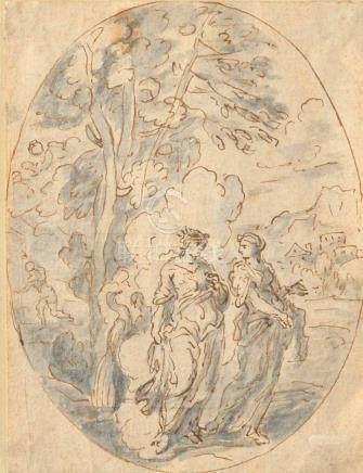 Ecole FRANÇAISE du XVIIe siècle Junon Lavis gris et plume 16,5 x 12 cm.