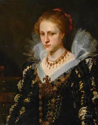 Ecole BELGE du XIXe siècle Portrait de Jacqueline van Caestre d'après Pierre Pa