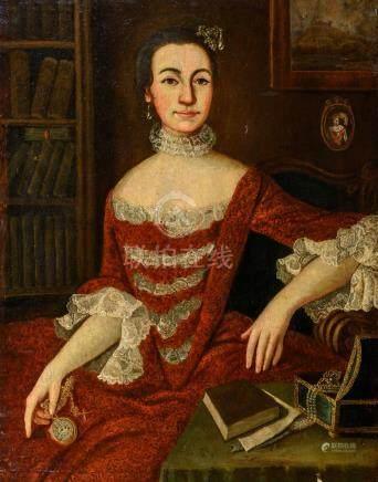 Ecole ESPAGNOLE de la fin du XVIIIe siècle Portrait de femme assise dans un fau