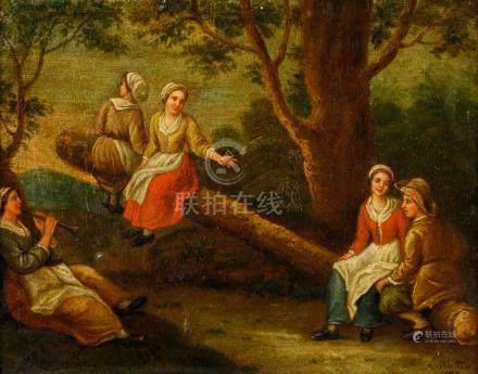 Ecole FRANÇAISE de la fin du XVIIIe siècle Couple joyeux dans un paysage Toile