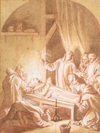 Ecole FRANCAISE du XVIIIe siècle, d'après Eustache Le Sueur La mort de Saint Br