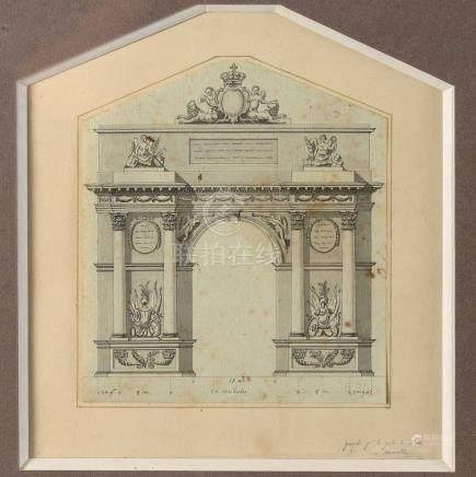 Ecole FRANÇAISE vers 1780 Projet pour l'arc de triomphe de la porte d'Aix Plume