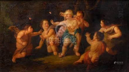 Ecole FRANÇAISE vers 1760, entourage de Noël HALLE Jeux d'enfants Toile (ancien