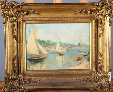 Ecole Française  La régate Huile sur toile  20 x 28 cm