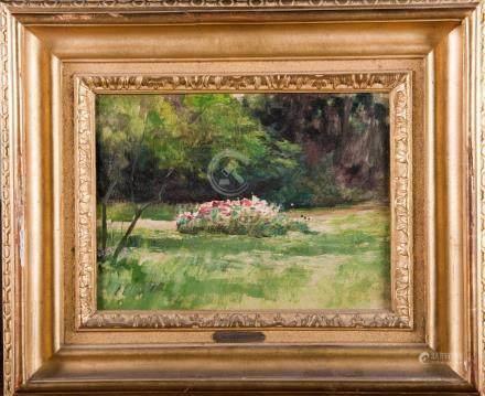 D'après Berthe MORISOT Jardin fleuris Huile sur toile 28 x 36 cm