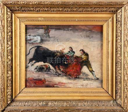 Eugenio DE LUCA Y PADILLA Scène de tauromachie  Huile sur toile signée en bas à