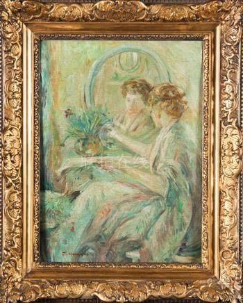 F. HOPKINS Jeune femme à sa toilette Huile sur toile signée en bas à gauche 37,